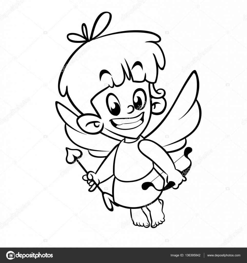 Descrito el personaje de dibujos animados gracioso Cupido con arco y ...