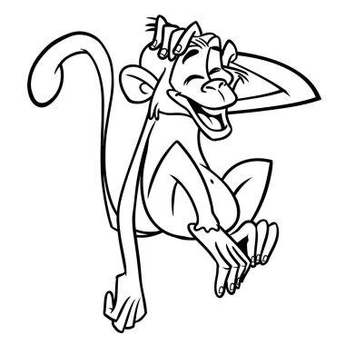 Cartoon funny chimpanzee monkey outlines. Vector illustration of monkey mascot isolated line art
