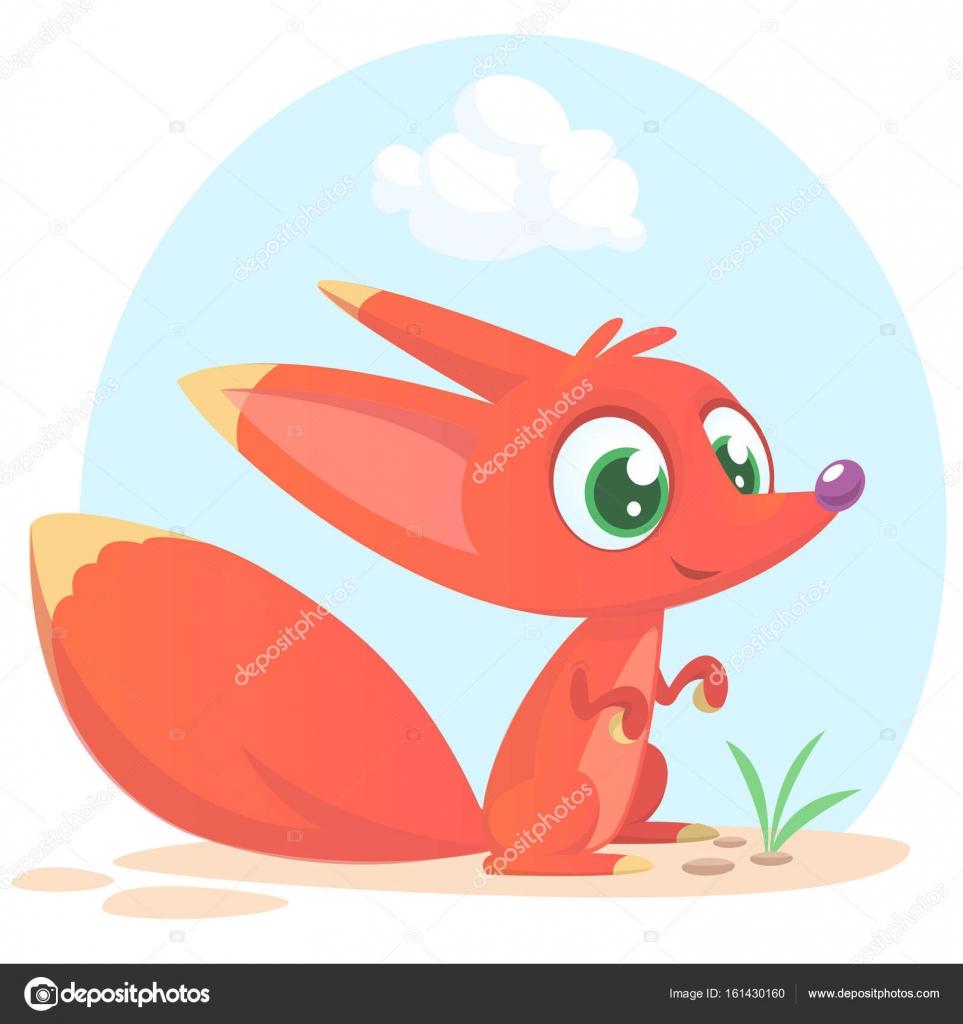 Carattere di volpe simpatico cartone animato. collezione animali