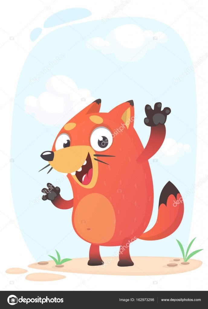 Mascotte di volpe divertente carino divertente ed emozionante