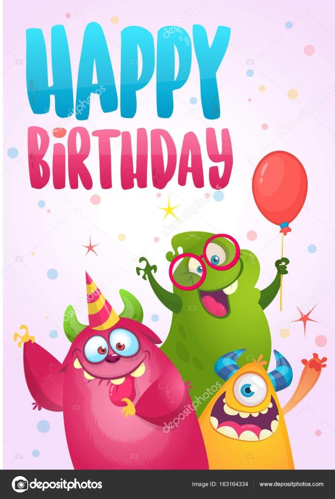 roliga födelsedagskort att skriva ut Vector födelsedagskort med söta roliga monster i tecknad stil  roliga födelsedagskort att skriva ut