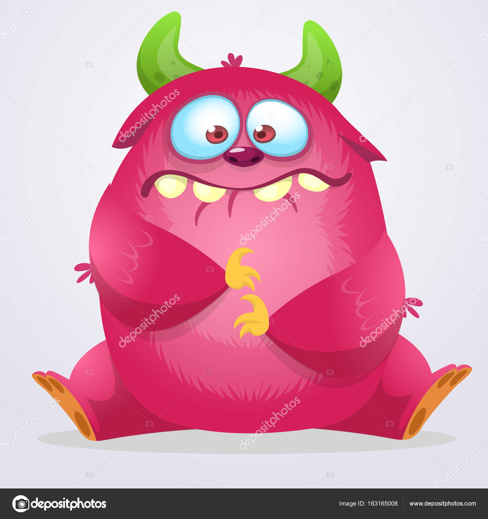 Happy cartoon monster  Halloween pink furry monster  Big