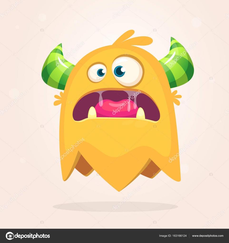 Monstruo enojado color naranja dibujos animados con cuernos. Gran ...