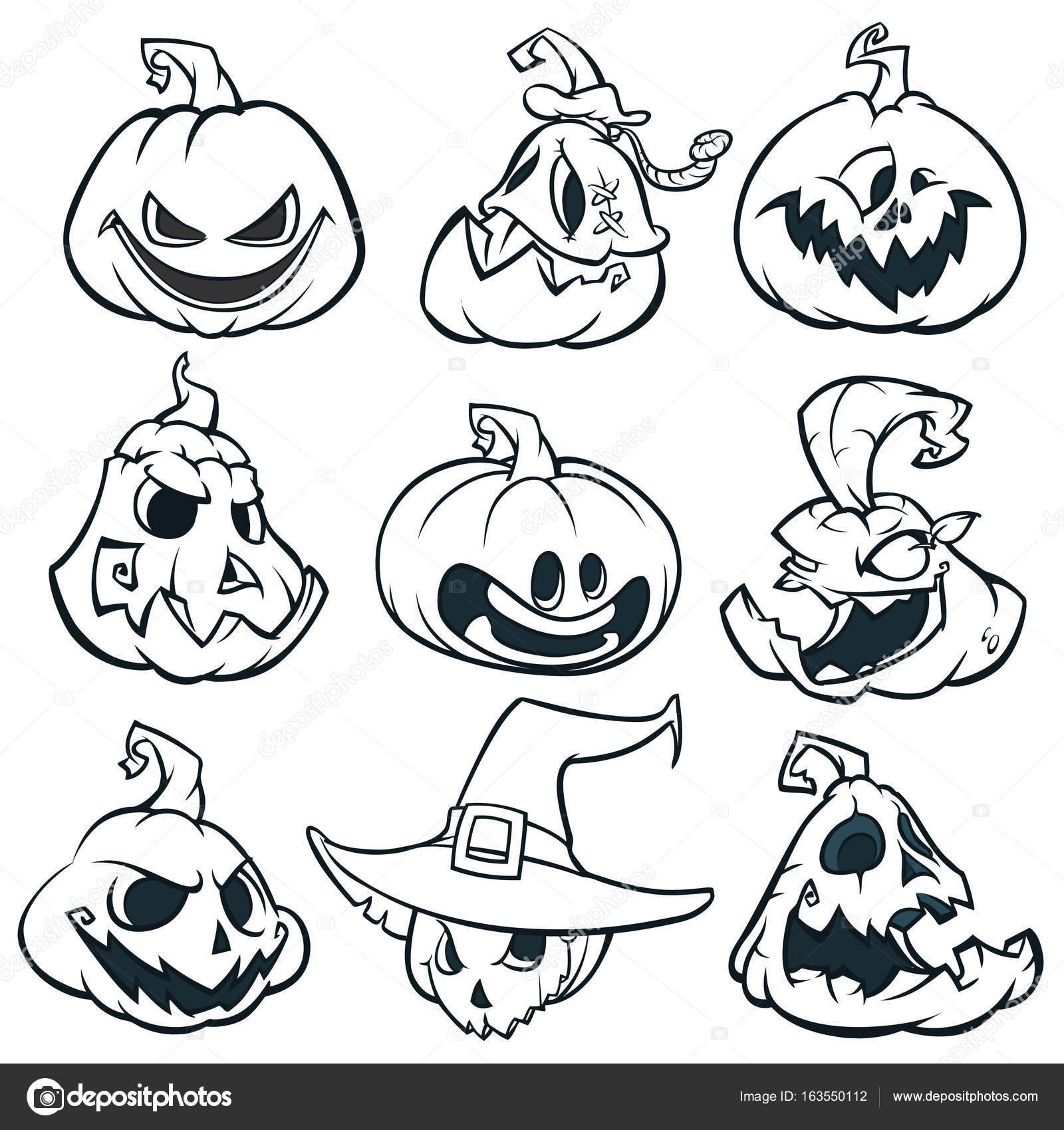 Dibujos animados espeluznantes calabazas Jack o \' Lantern set ...