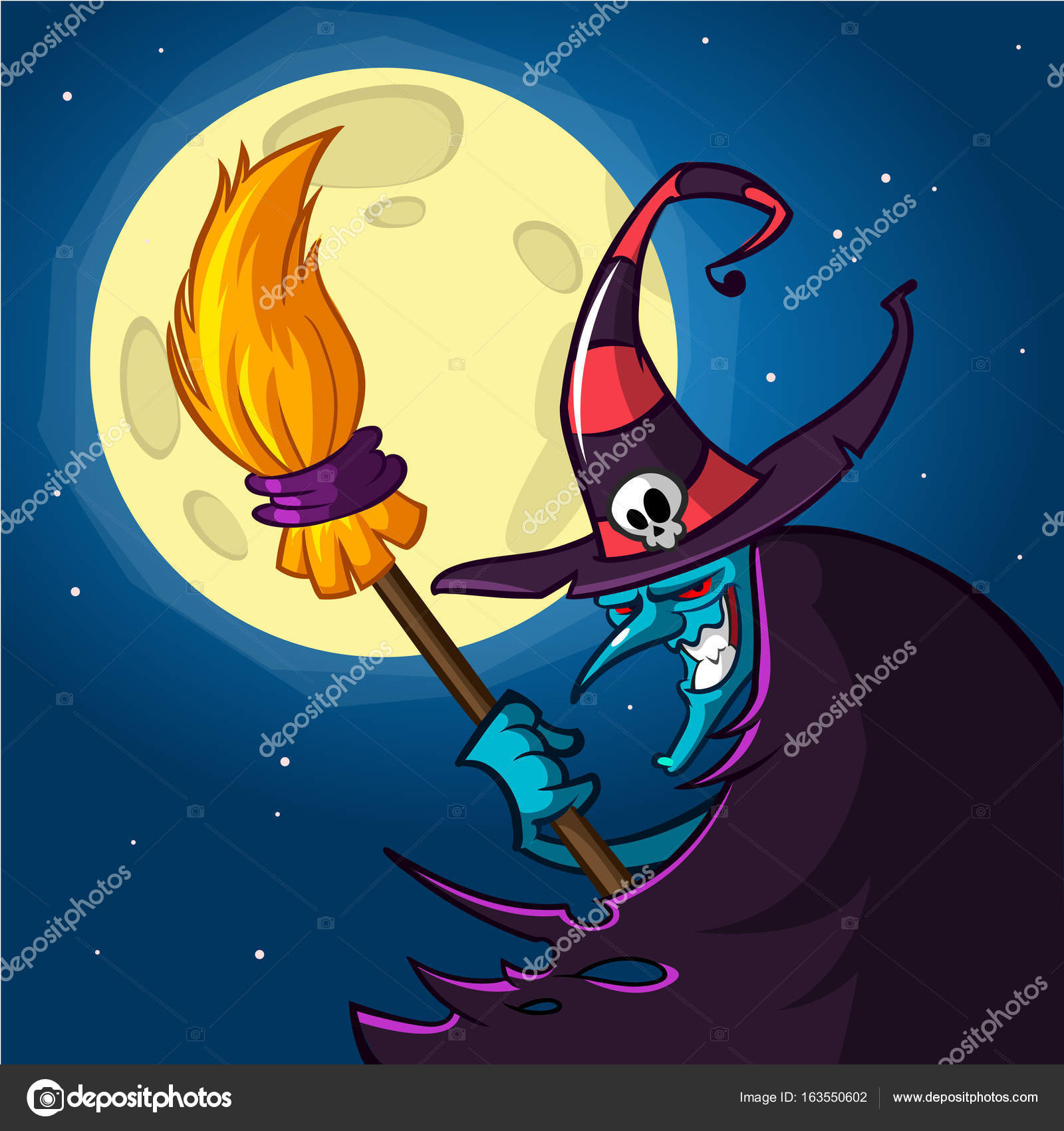 Cartoon Old Witch In Hat With A Broom Halloween Illustration