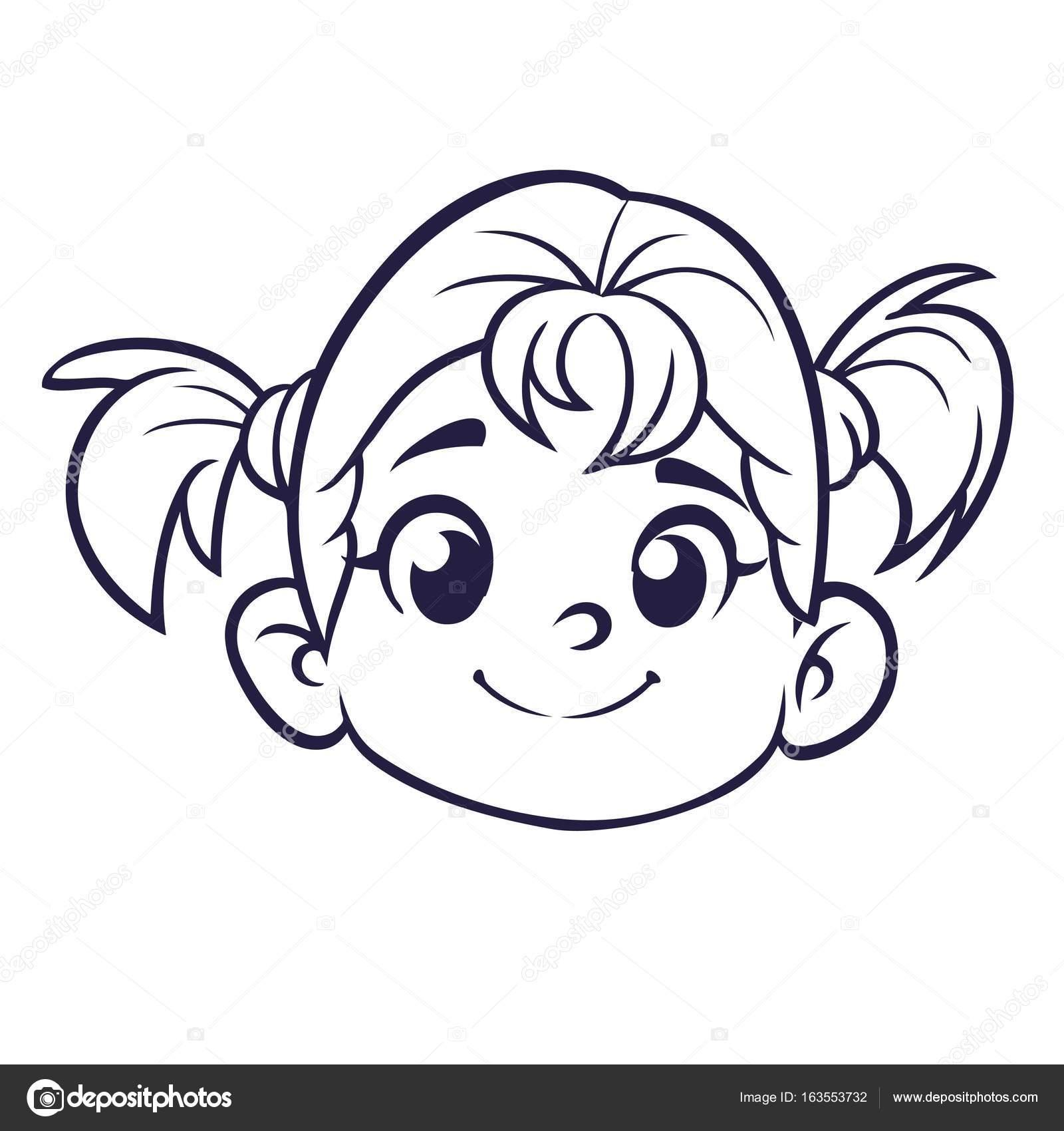 Cara de dibujos animados linda chica descrita. Ilustración vectorial ...