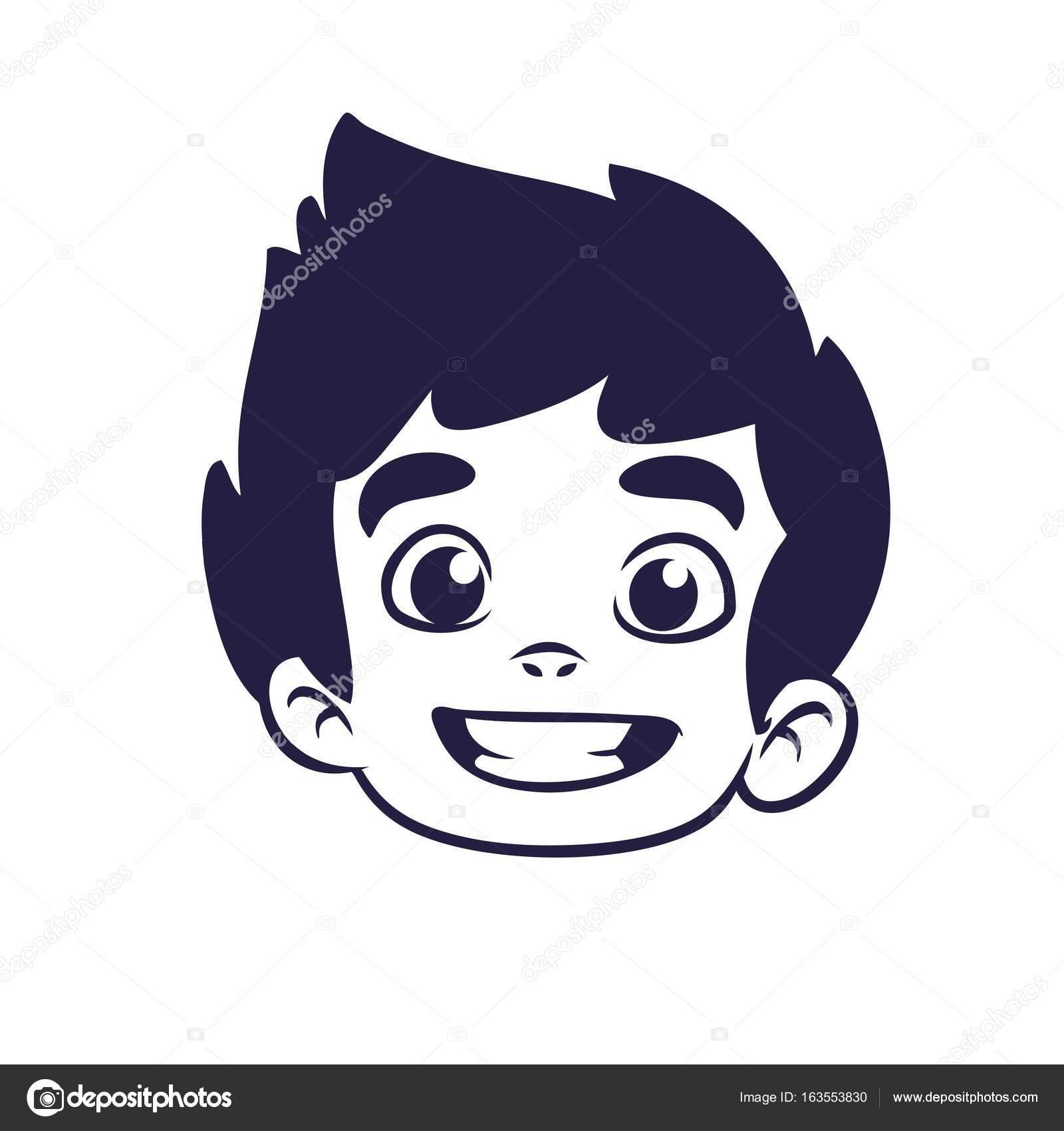 Imágenes Para La Cabeza Contorno Cabeza Del Niño Feliz De Dibujos