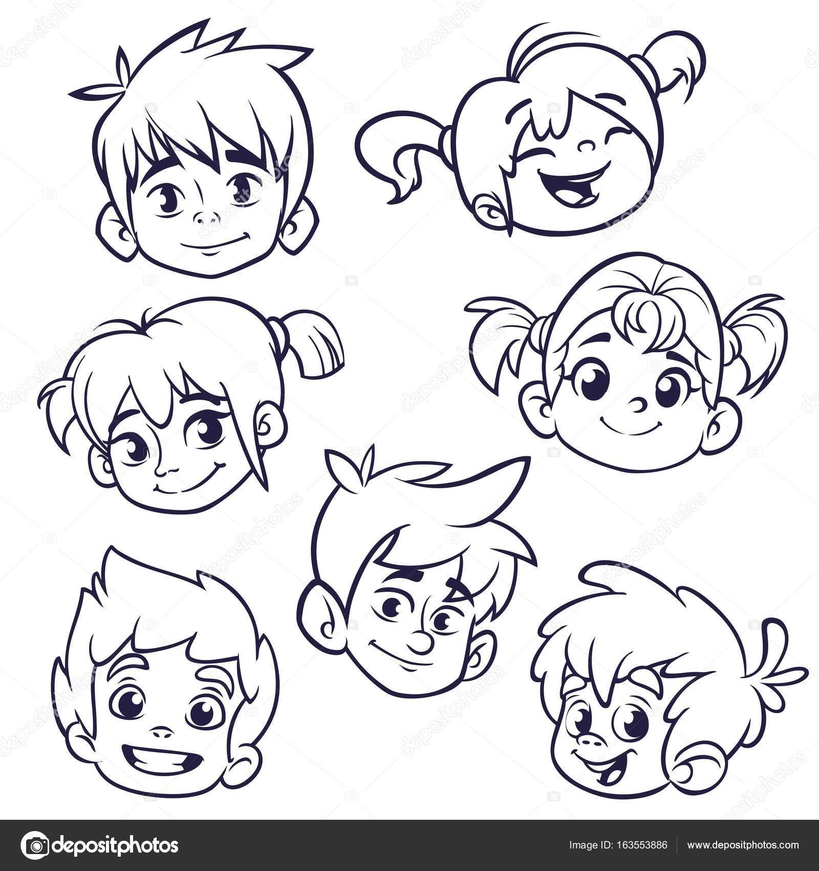 Animado Cara De Niño Para Colorear Dibujos Animados Iconos De