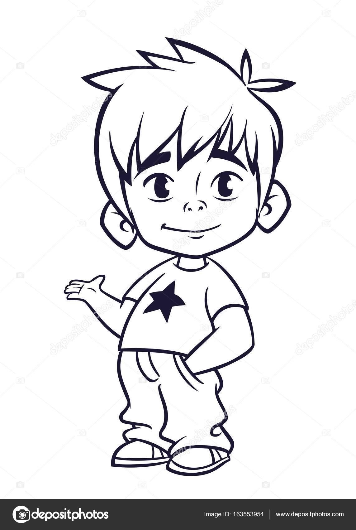 Ilustración de vector de muchacho pequeño en líneas de ropa de ...