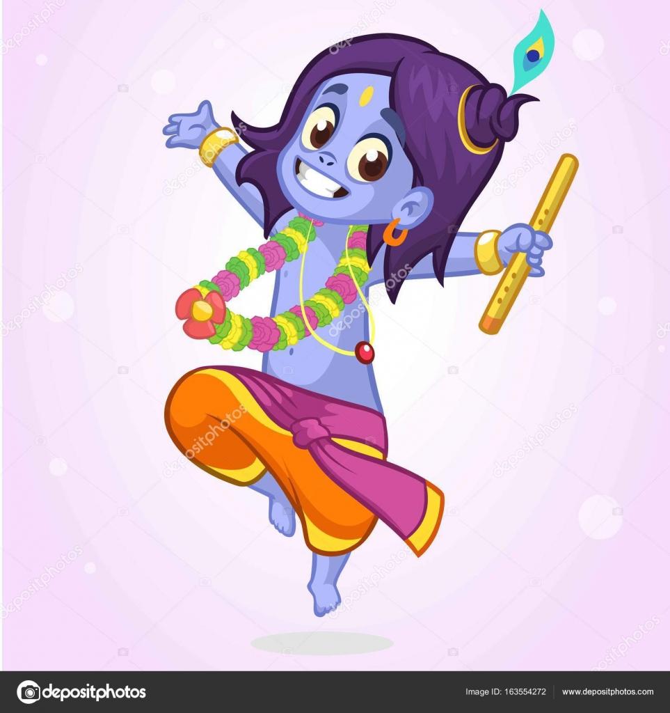 Kleinen Cartoon Geschlossen Krishna Mit Augen Tanzen Mit Einer
