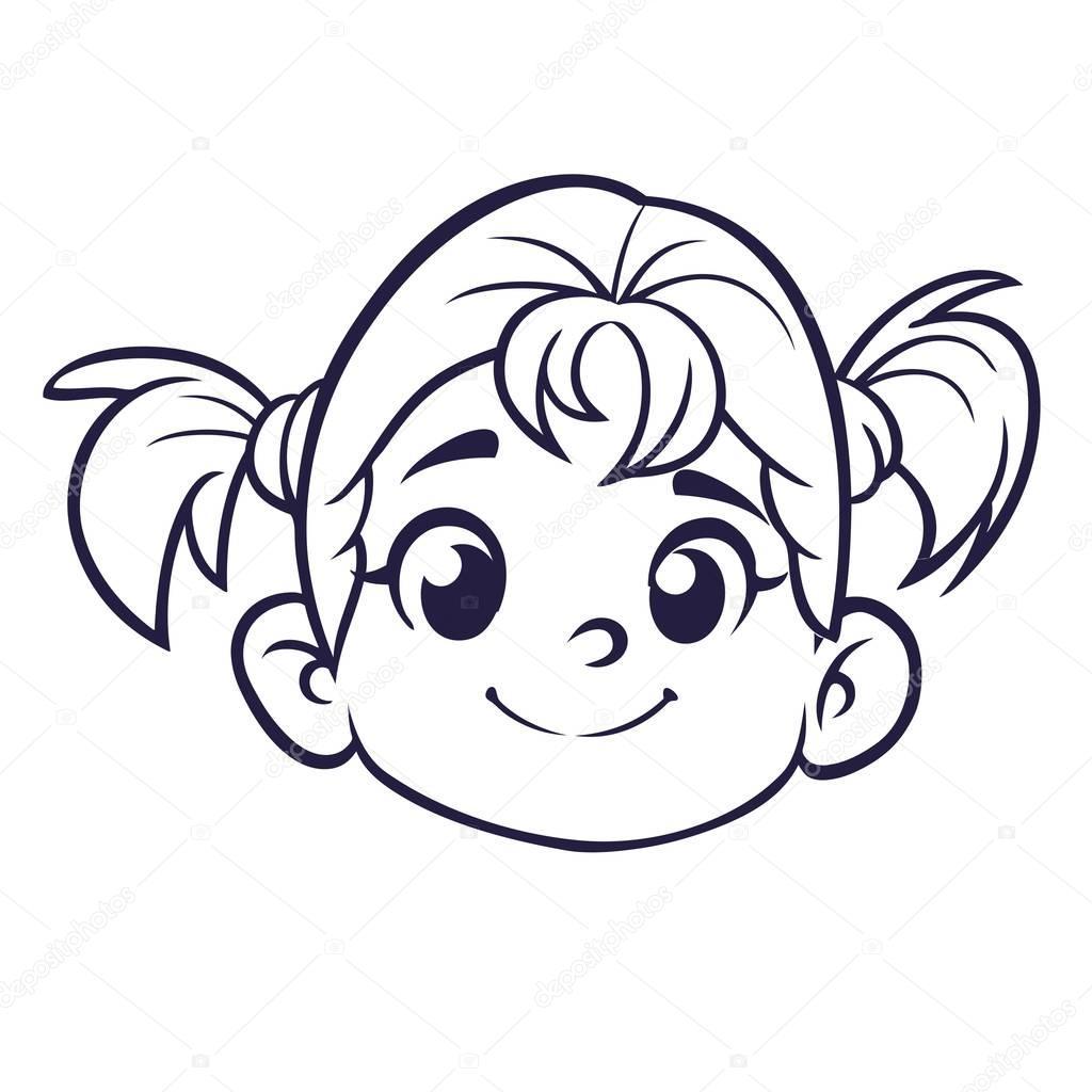 Rosto De Menina Bonito Dos Desenhos Animados Delineado