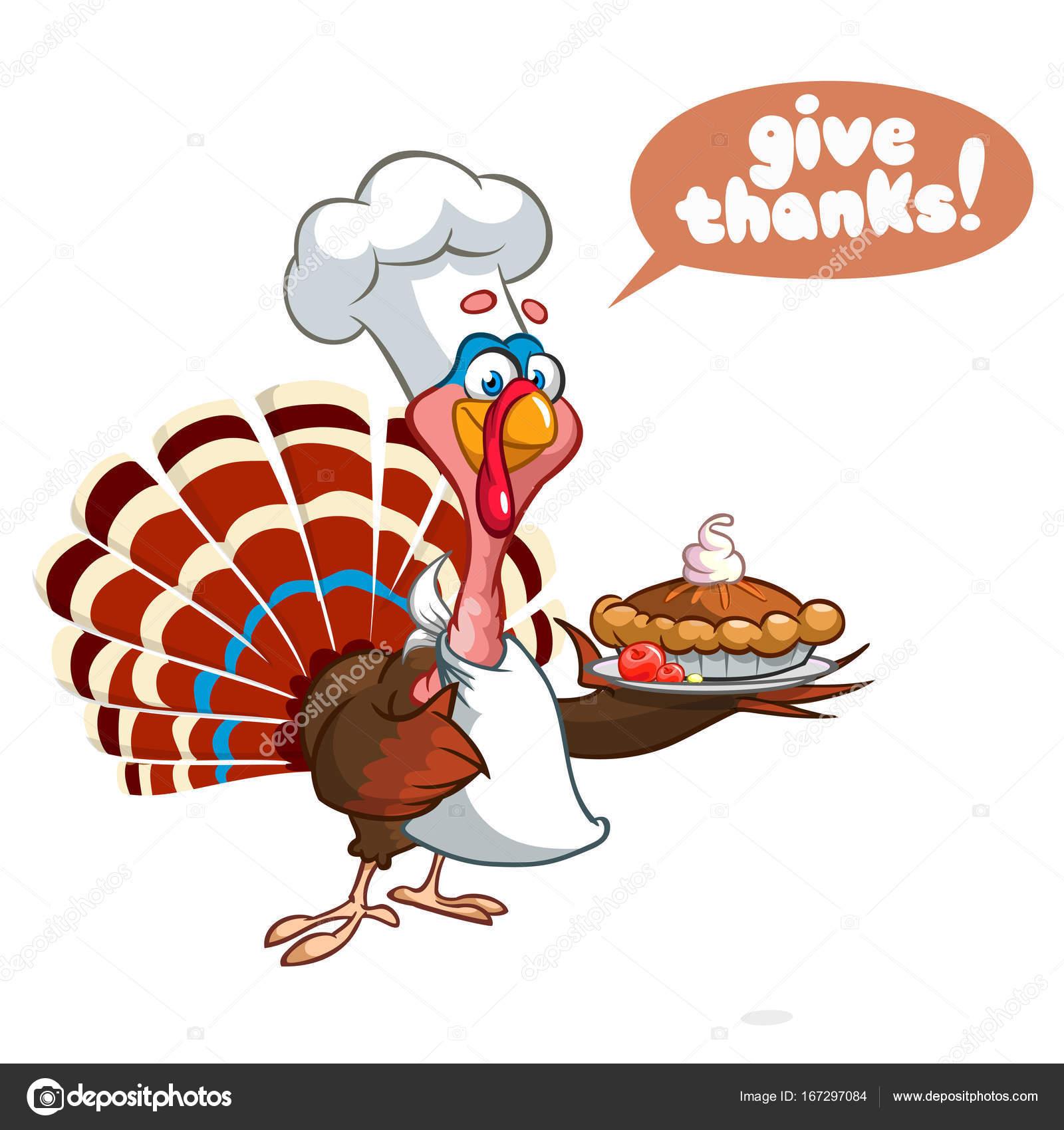 Acción de gracias dibujos animados divertidos Turquía Jefe de cocina ...