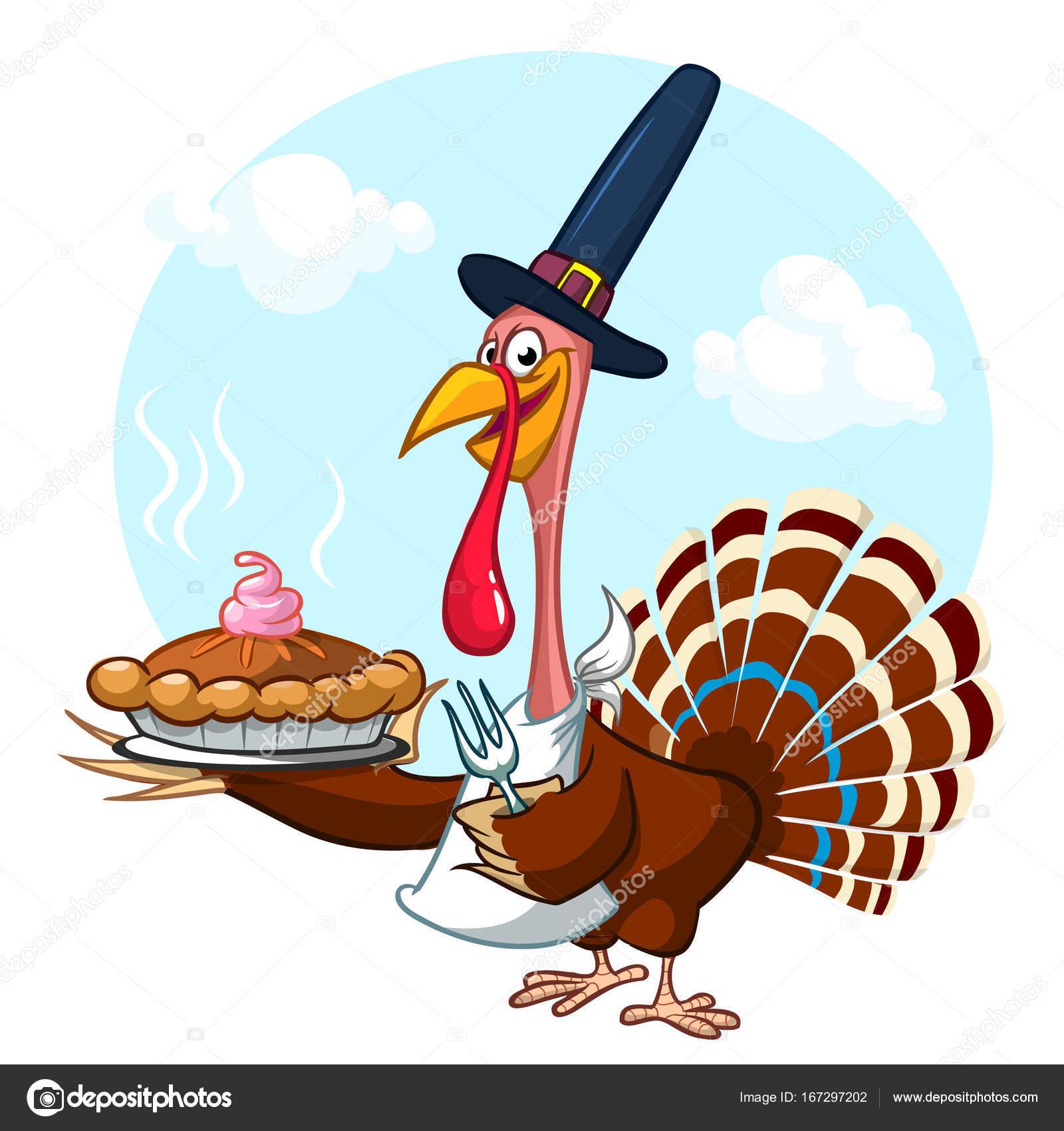 Thanksgiving-Cartoon Türkei hält Gabel und Pie isoliert. Vektor ...