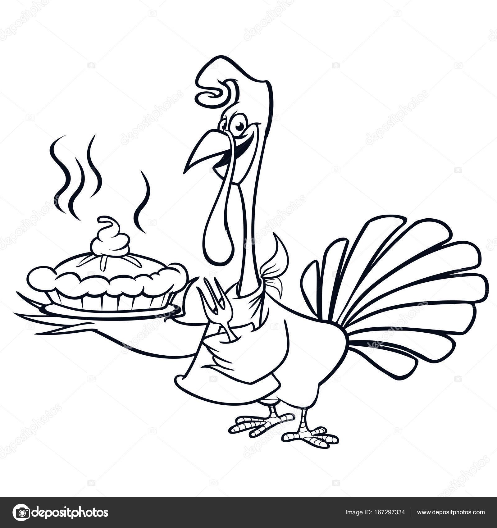 Thanksgiving lustige Cartoon Türkei Chefkoch serviert Kürbiskuchen ...