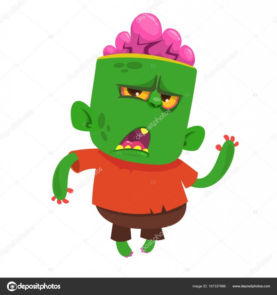 Caricatura de vector de un gracioso zombie verde con cabeza grande ...