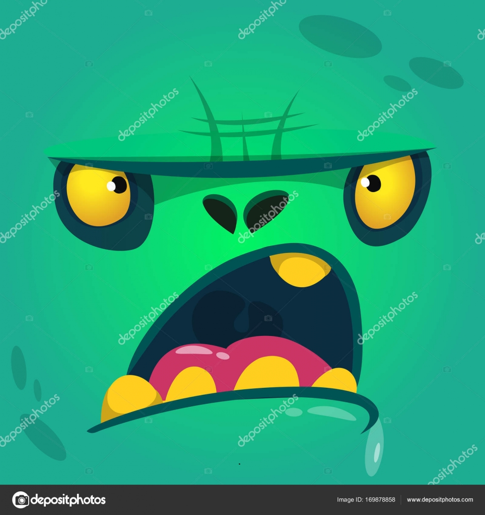 Cartoon Angry And Funny Zombie Face Vector Zombie Monster Square