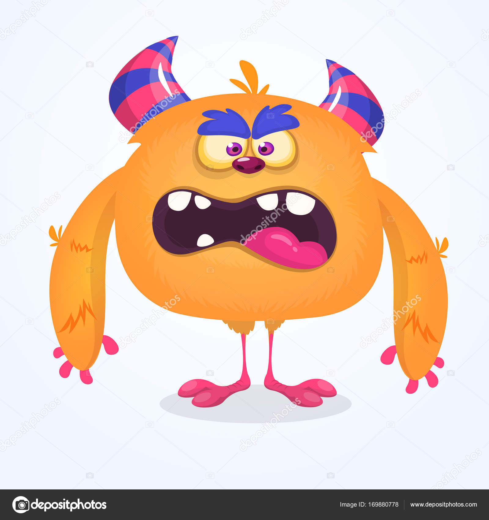 cute cartoon monster. vector furry orange monster character with