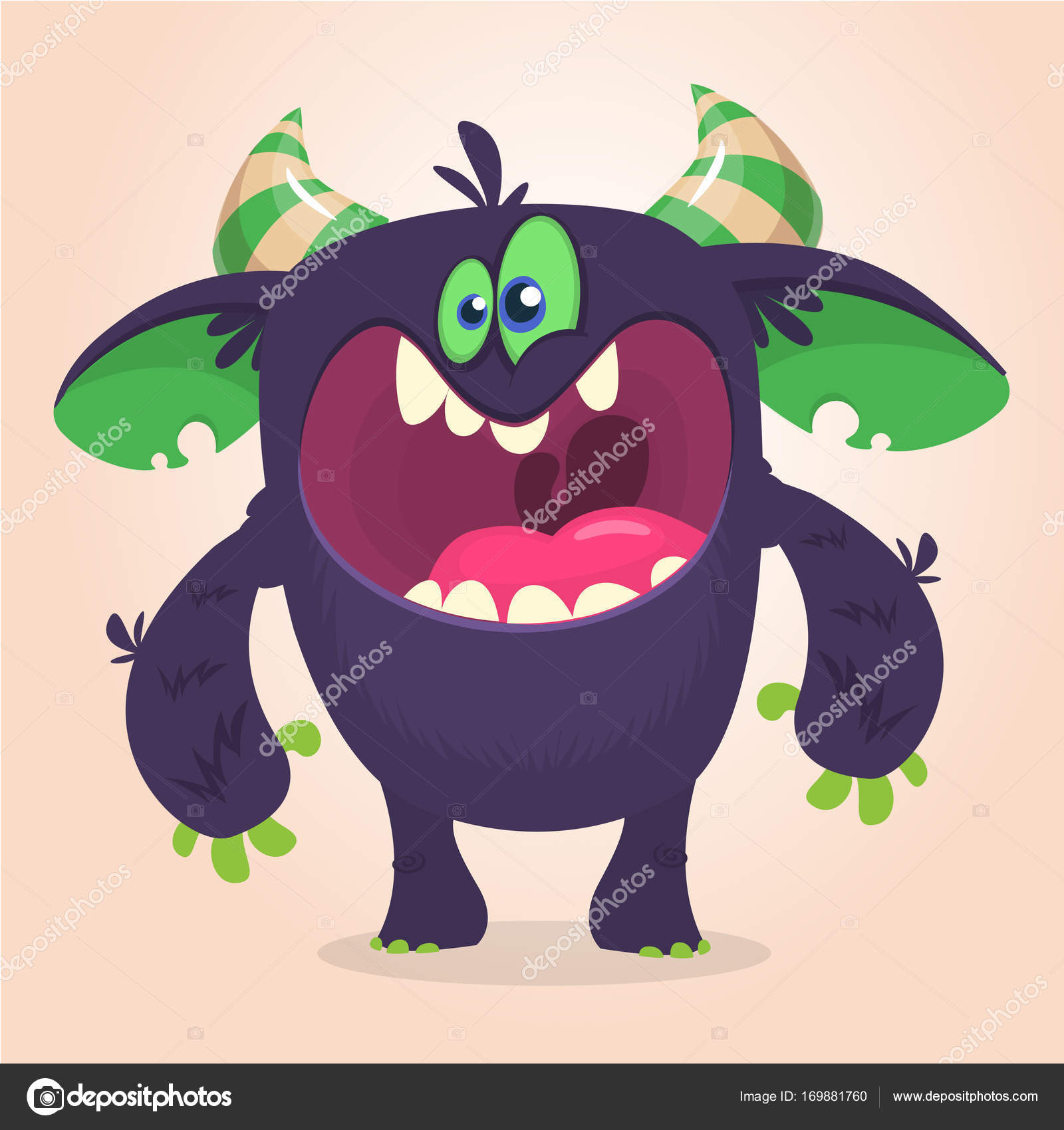 Angry cartoon black monster screanimg  Yelling angry monster