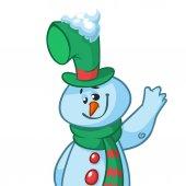 Funny cartoon snowman waving. Christmas snowman character  illustration isolated