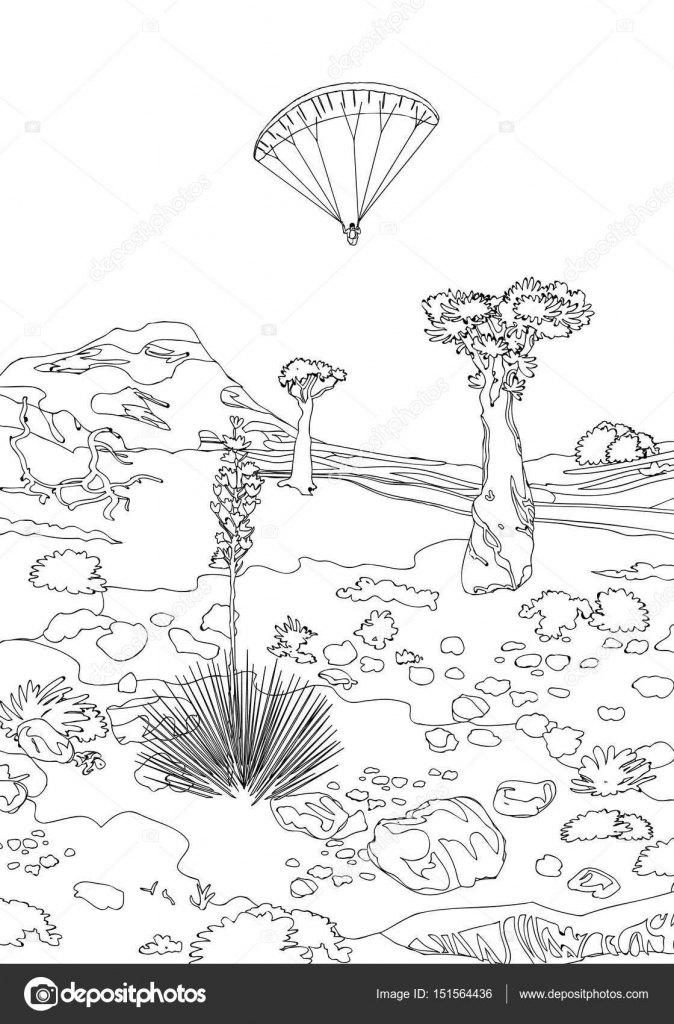 El çizimi Manzara Ağaçlar Ve Taşlar Stok Vektör Anaittsmigmail