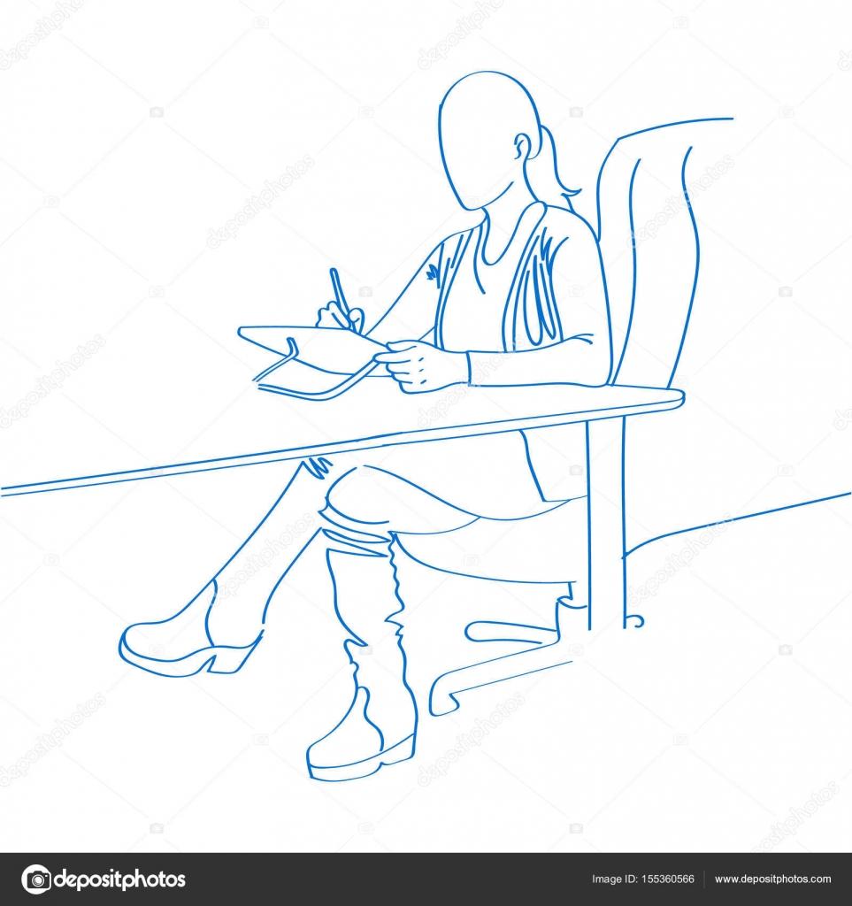 Junge Hand Gezeichnete Frau Zeichnen Auf Laptop Im Buro