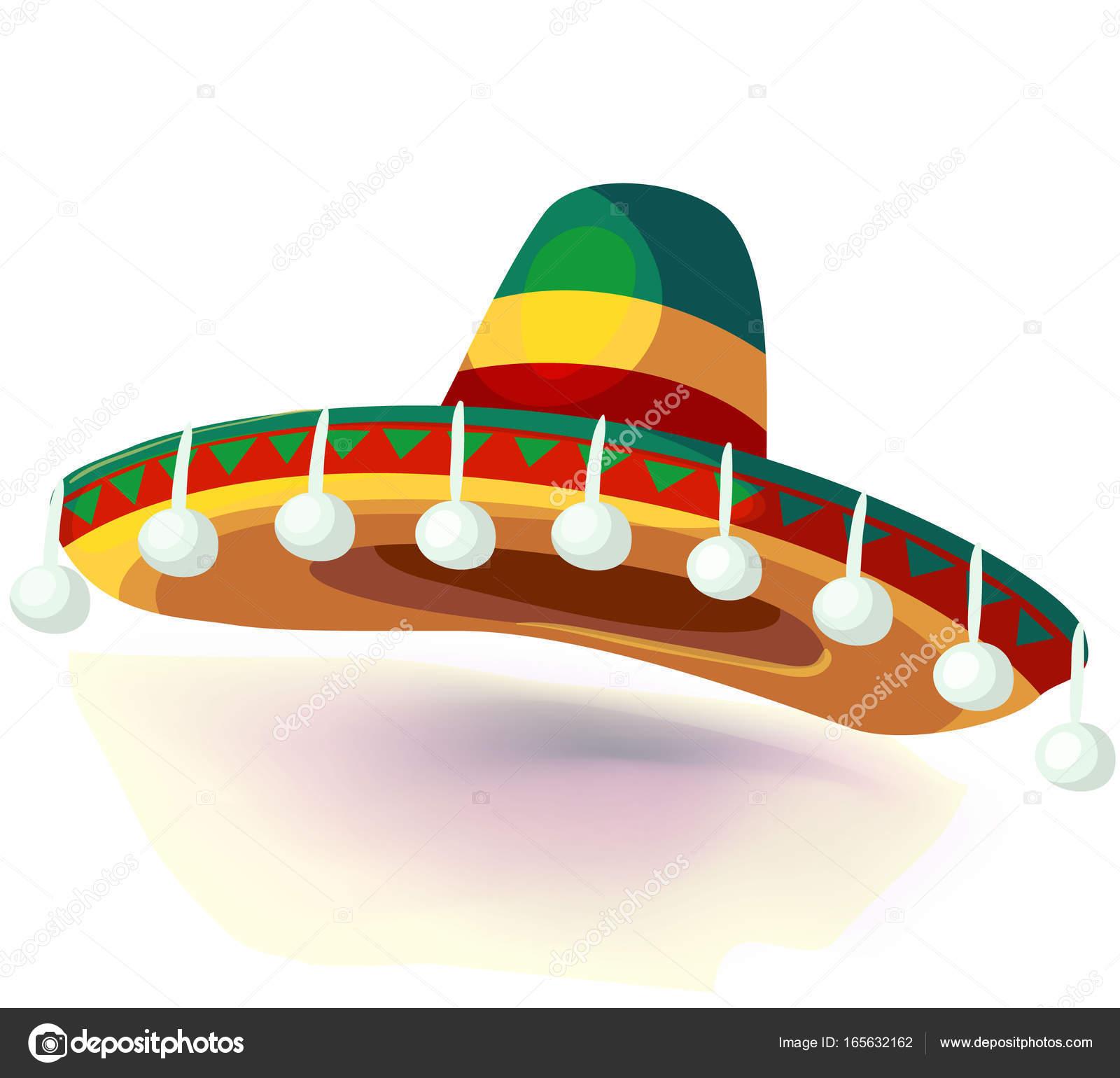 Sombrero klobouk vektorové ilustrace. Mexický klobouk na bílém pozadí.  Maškarní nebo karneval kostým čelenka 07bcbd9e53