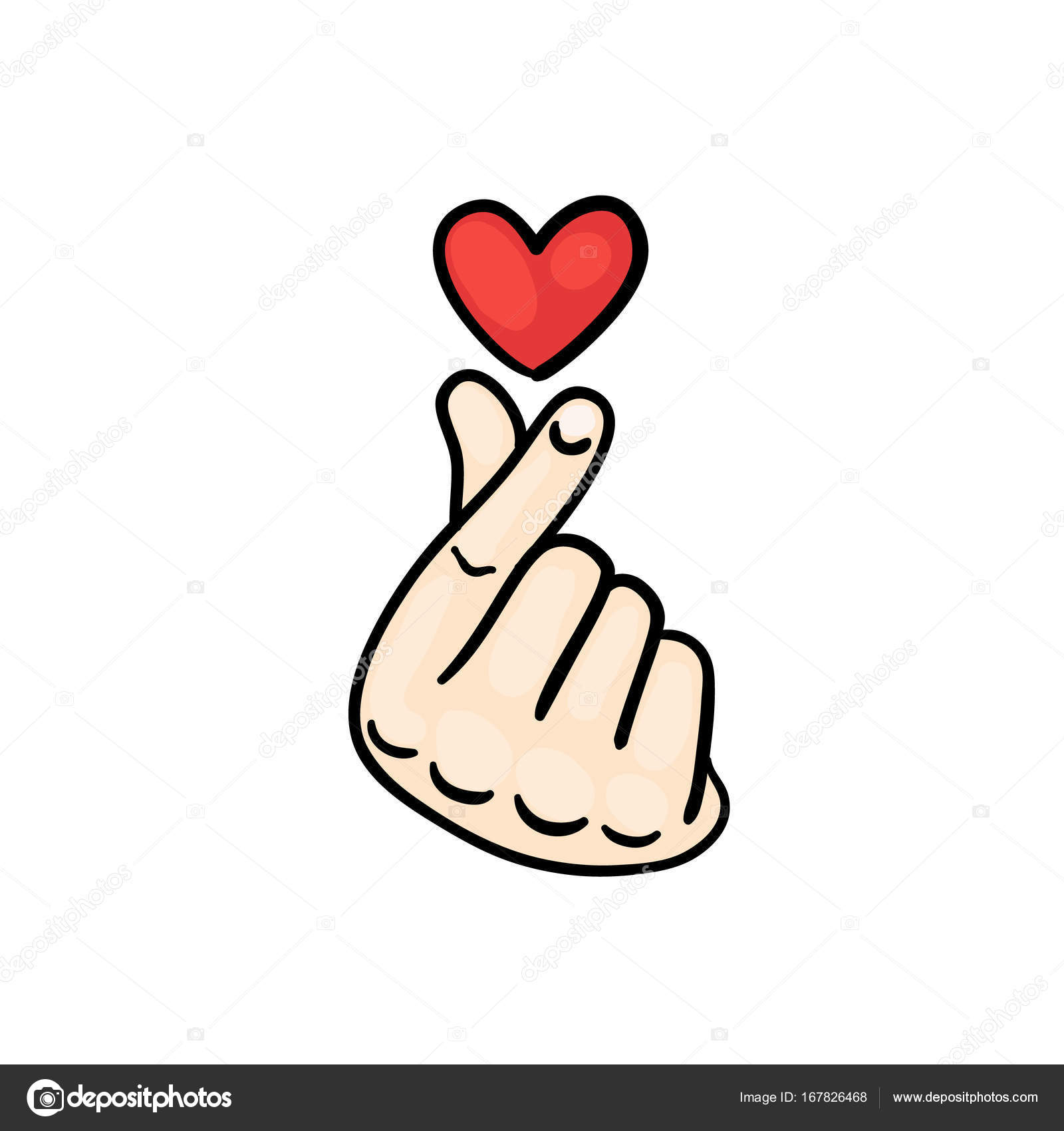 Korean finger heart i love you hangul vector illustration korean sign icon stylized for the web and print the hand folded into a heart symbol vector by anaittsmiail biocorpaavc