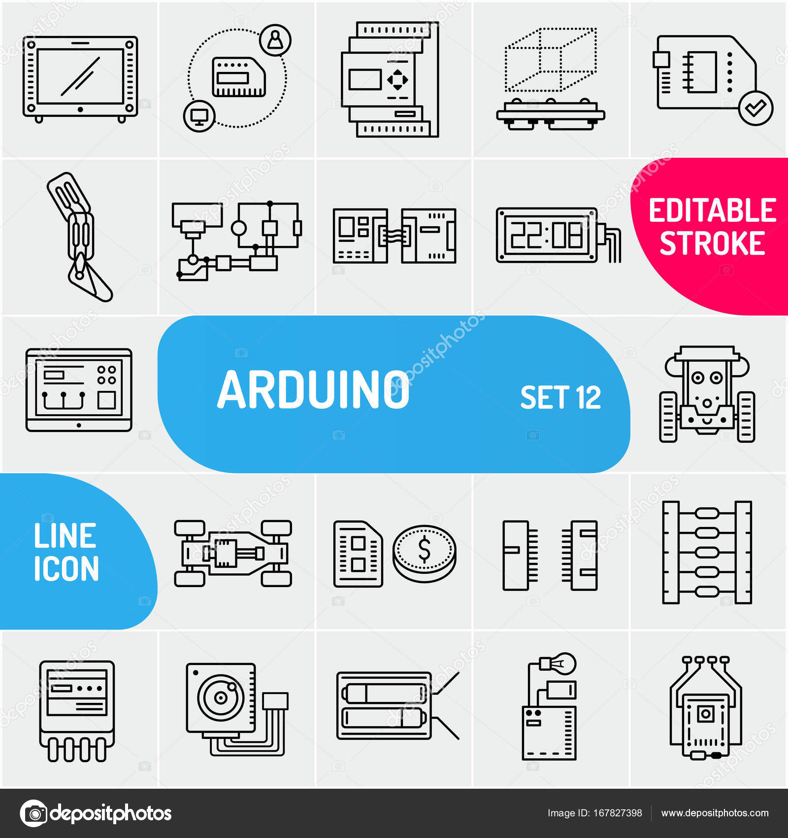 Arduino line icons. Electronics components icon set. Various chip ...