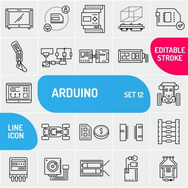 Arduino line icons. Electronics components icon set. Various chip symbols collection. Vector illustration.