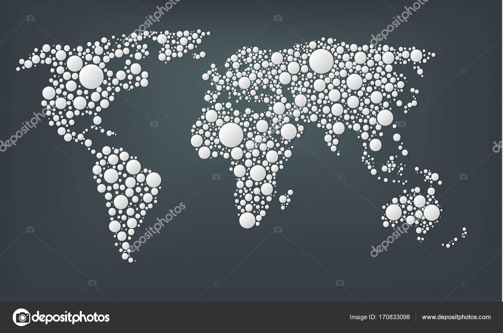 Design of a dots map of the world abstract world map made from design of a dots map of the world abstract world map made from large white round points isolated on a dark background dots style gumiabroncs Gallery