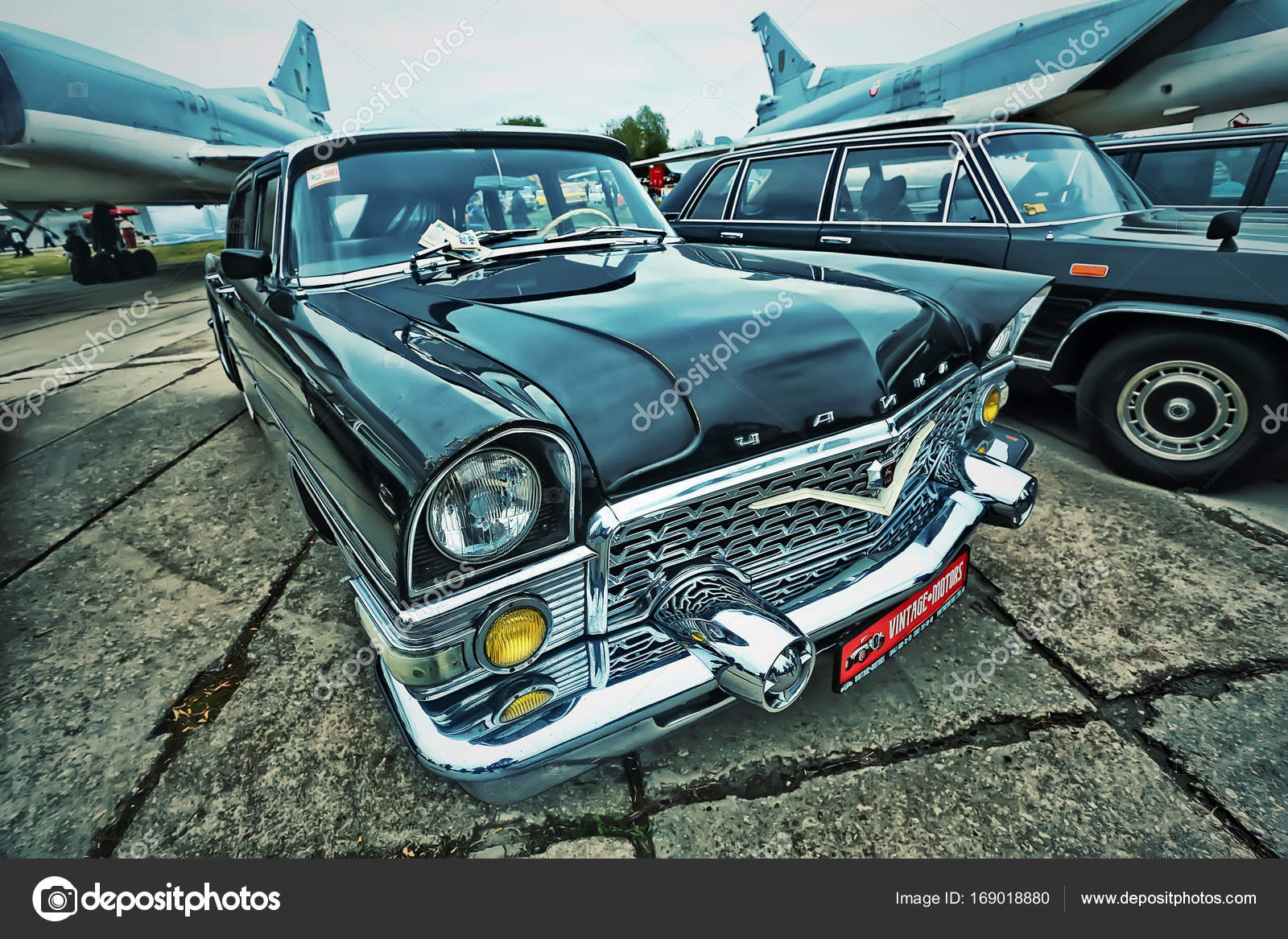 KYIV, UKRAINE - OCTOBER 2017: Soviet luxury vintage car black GAZ-13 ...