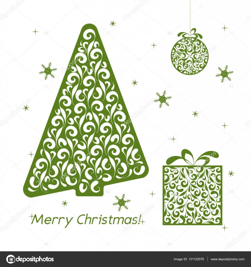 Tarjeta de papel calado verde Navidad. Plantilla de diseño con árbol ...
