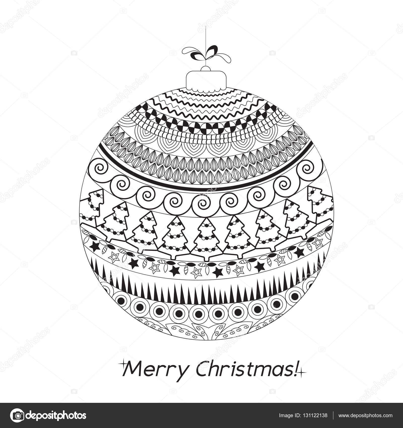 Grusskarte Weihnachten mit Hand gezeichneten Ball mit dekorativen ...