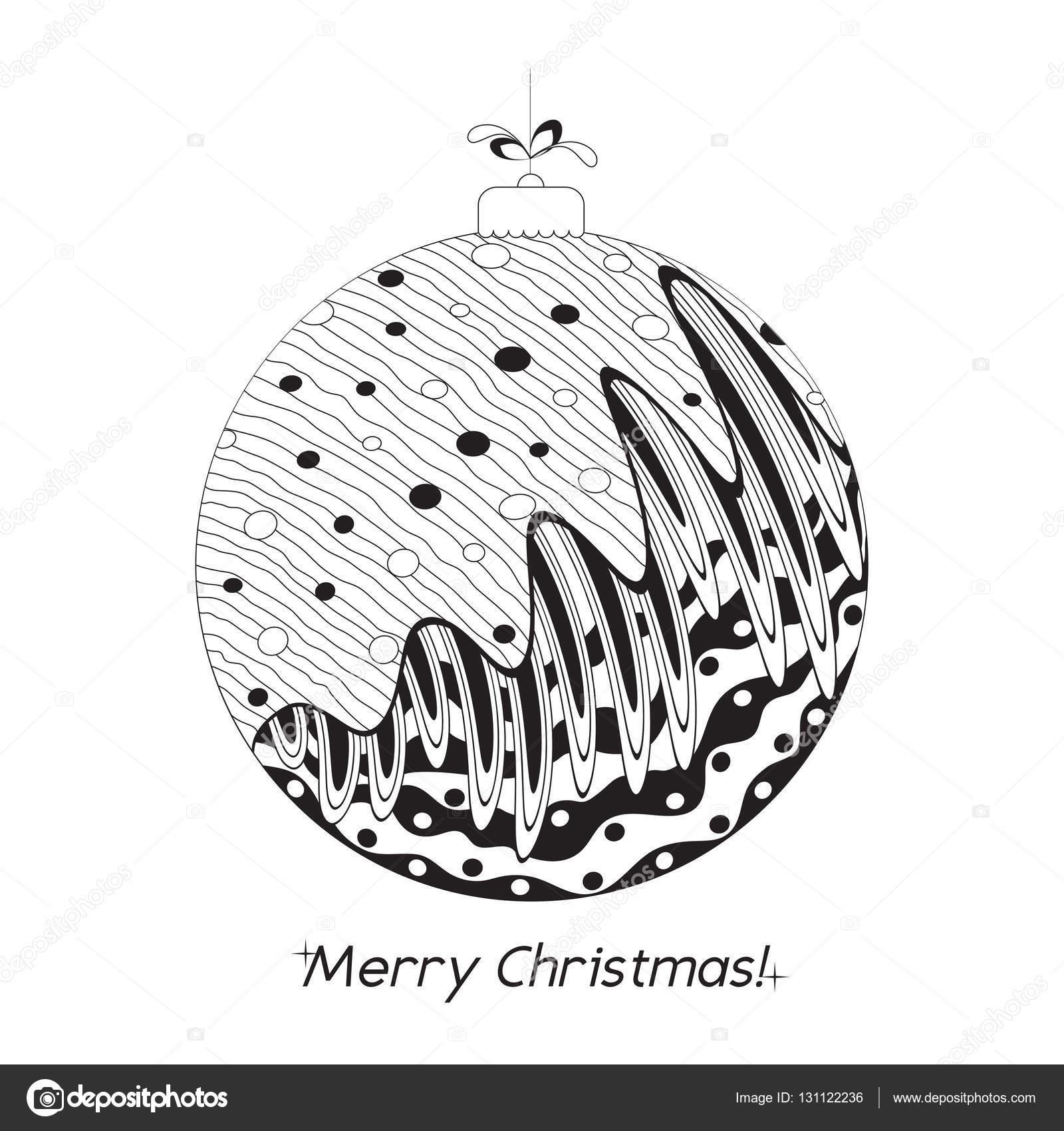 Carte De Noël Avec Ballon Dessiné Main Avec Doodle éléments