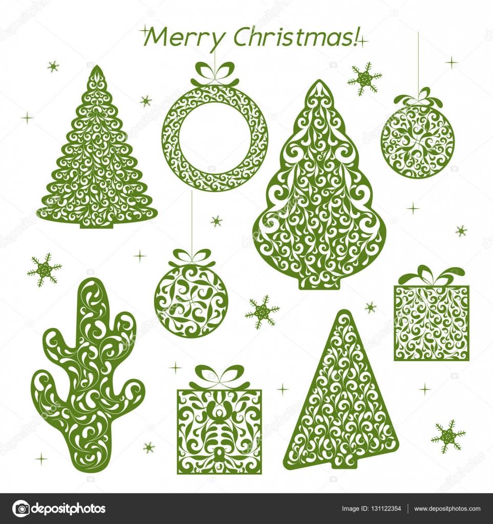 Festlegen der durchbrochenen Grünbuch Weihnachtsfiguren. Schablone ...