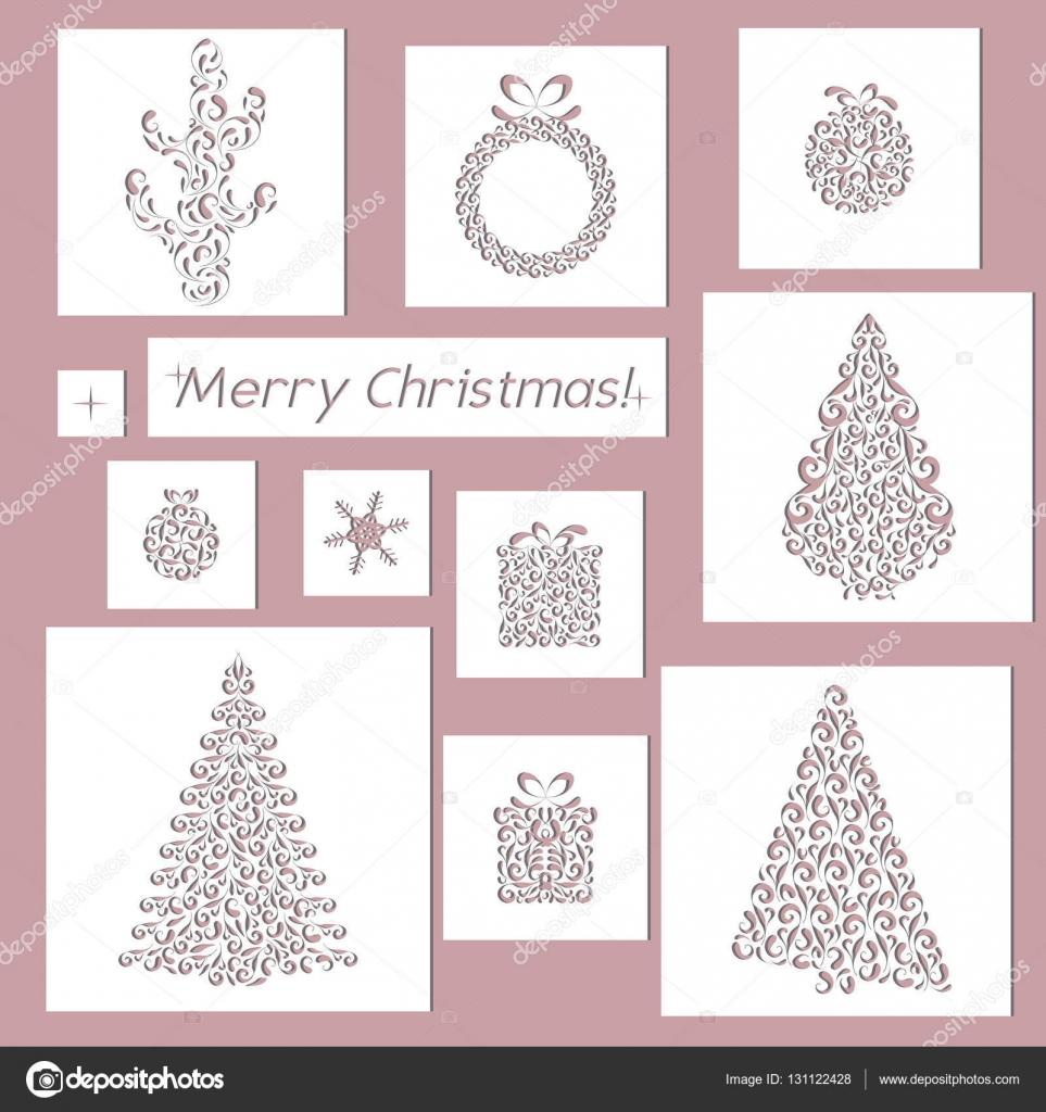 set of christmas openwork white paper card stencil design laser
