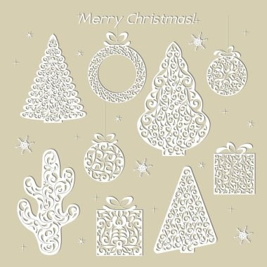 Set of Christmas openwork white paper figures. Stencil design. Laser decoration template for greeting cards, invitations, interior decorative elements. Tree, cactus, wreath, ball, gift, snowflake. Vector illustration.