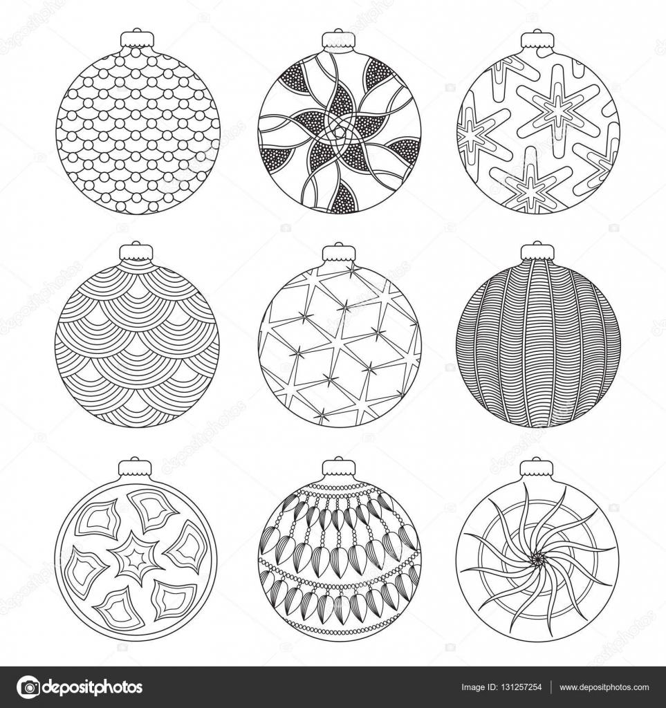 Conjunto de mano sacar bolas de Navidad para colorear con elementos ...