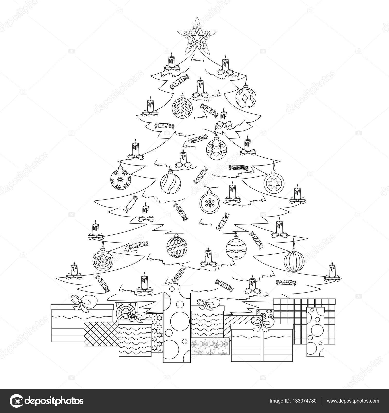 Malvorlagen mit Weihnachtsbaum, Sterne, Kugeln, Süßigkeiten, Kerzen ...