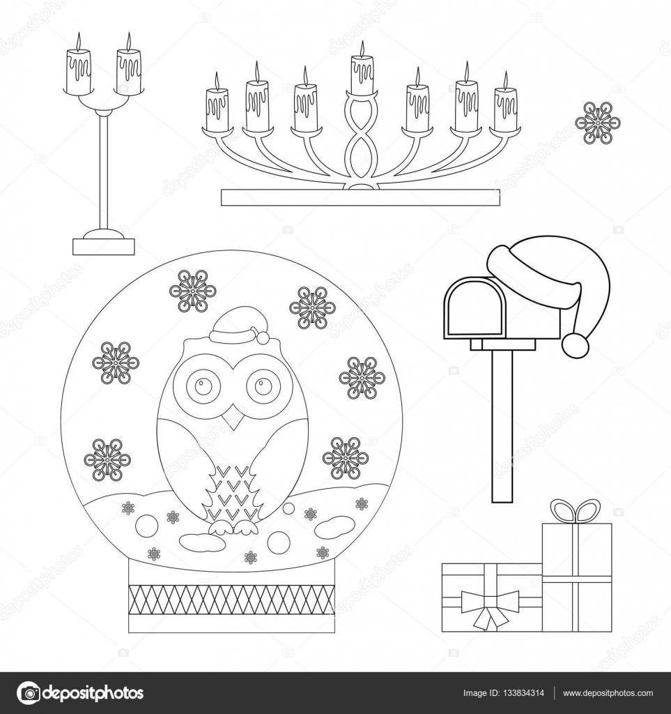 Satz von Malvorlagen Weihnachten Schneekugel mit einer Eule Kerzenständer mit Kerzen Geschenke Postfach im Weihnachtsmann Mütze Malbuch