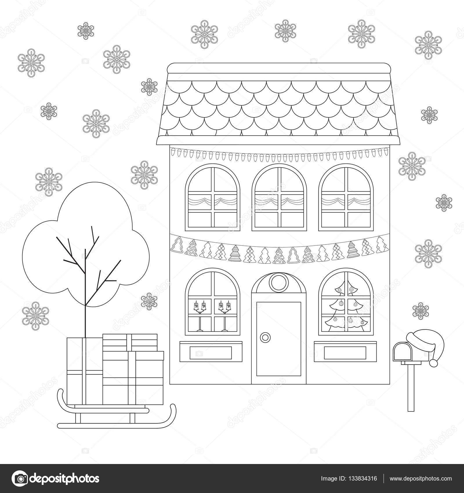 Boyama Sayfası Noel Kızak Ile Hediyeler Noel Baba şapkası Posta