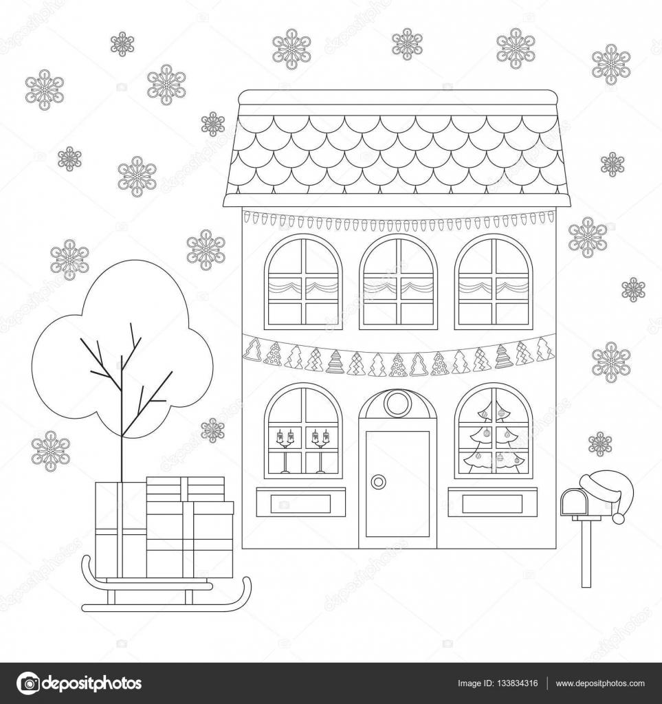 Kleurplaat Huis Aan De Decoratie Van Kerstmis Slee Met Geschenken