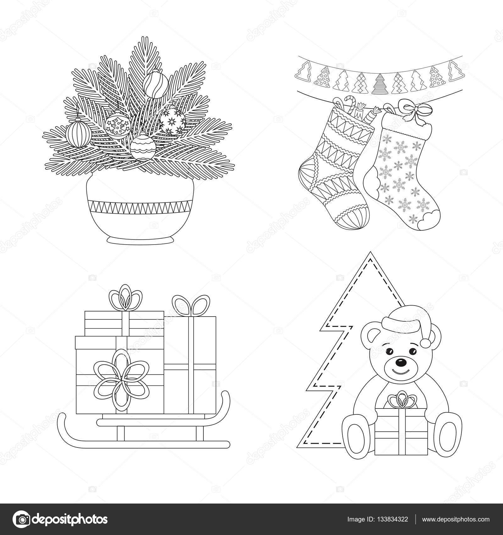 Boyama Sayfası Kümesi çam Dalları Ve Bir Vazo Noel çorap Ve Bot