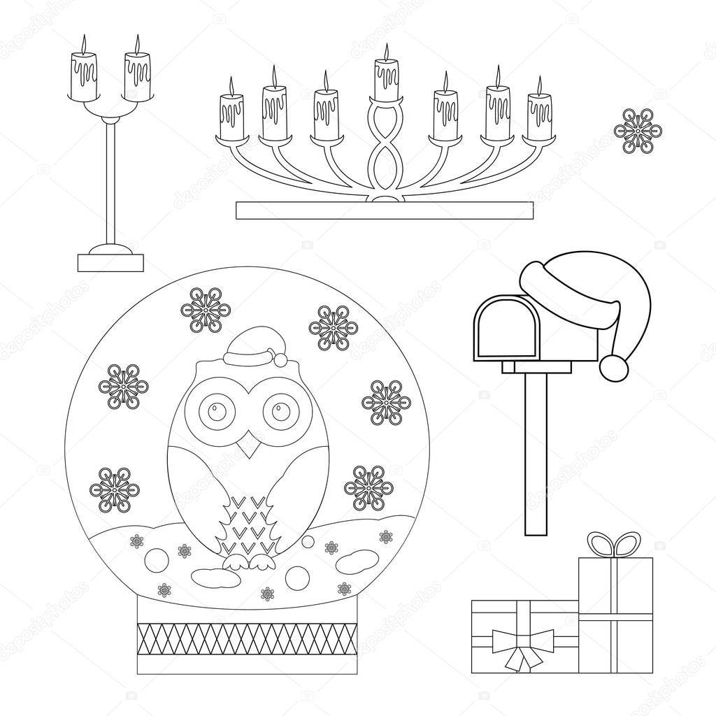 set kleurplaat kerst sneeuw globe met een uil kandelaars