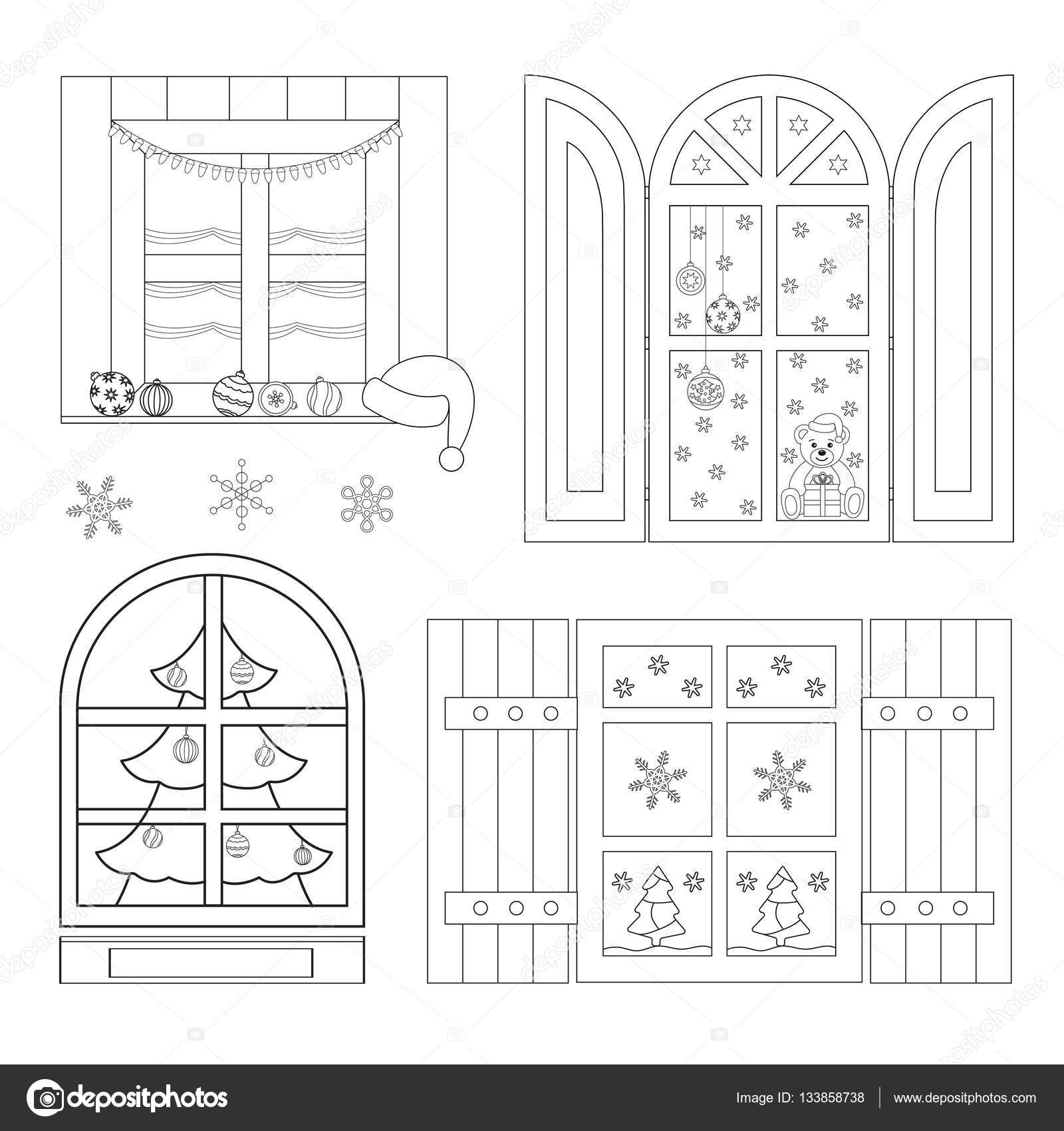 Set Of Coloring Christmas Windows Coloring Book Vector