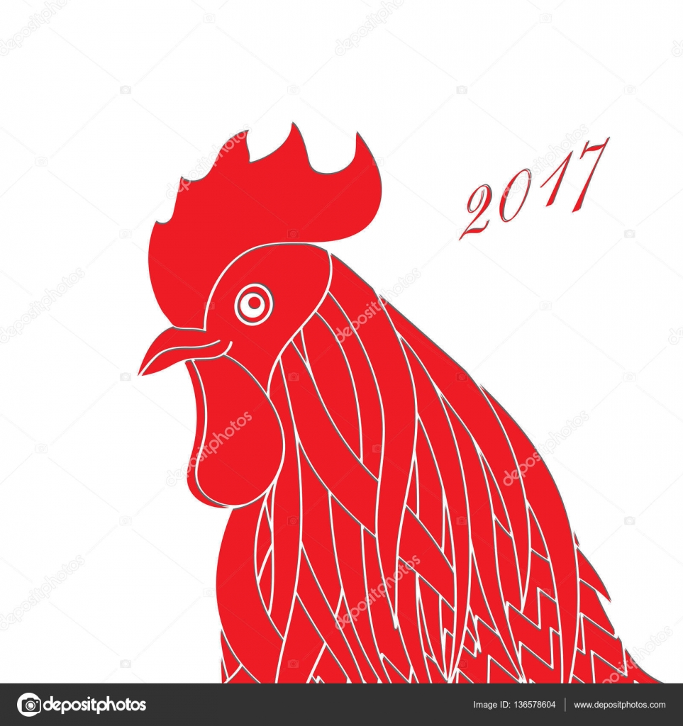 Red Rooster The Symbol Of The Chinese New Year 2017 Silhouette Of