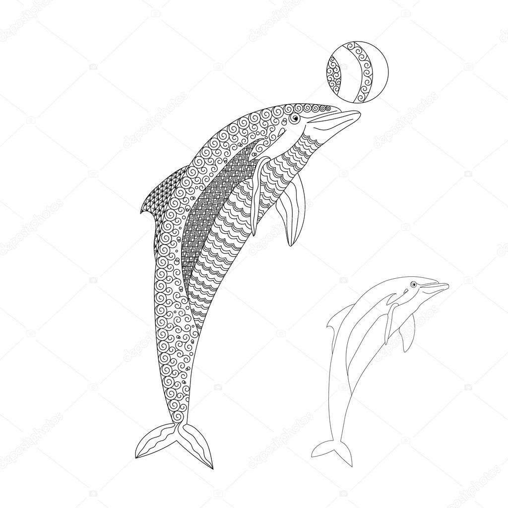 zwart witte getrokken doodle dolfijn oceanische dier