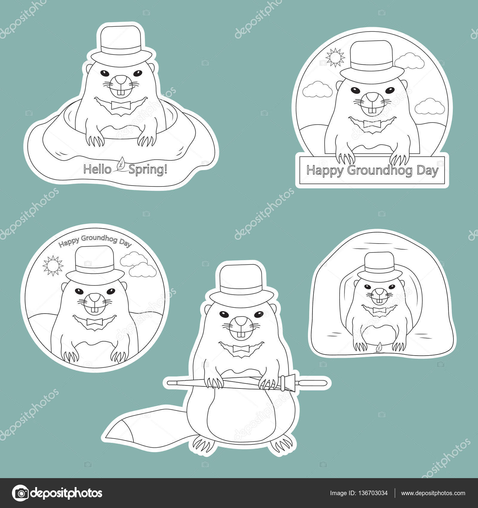 coloring page set of stickers happy groundhog day with cute groundhog in hat in the hole and out of the hole hello spring vector illustration