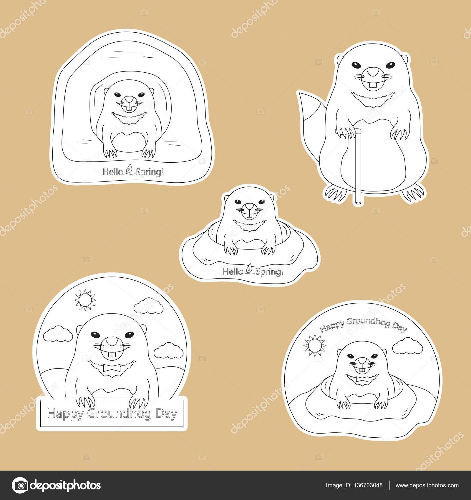 Página para colorear - juego de pegatinas feliz día de la marmota ...