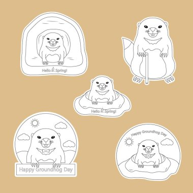 Coloring page - set of stickers Happy Groundhog Day with cute groundhog with a cane. In the hole and out of the hole. Hello Spring. Vector illustration. clip art vector
